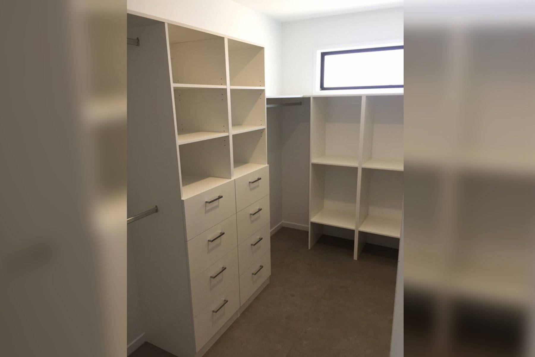 860. Custom Layout with Fixed shelves and drawers